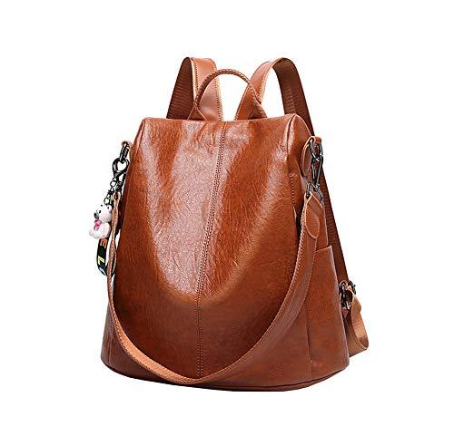 Leder Rucksack, Damen Rucksack Frauen Schultasche Casual Daypack Schulrucksäcke Tasche Schulranzen (Farbe : Brown, größe : One size)