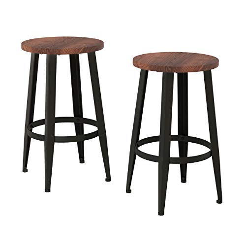 Counter Height Stools-Backless Seating for Kitchen or Dining Room-Metal Base, Wood Seat- Modern Farmhouse Accent Furniture by Lavish Home (Set of 2)
