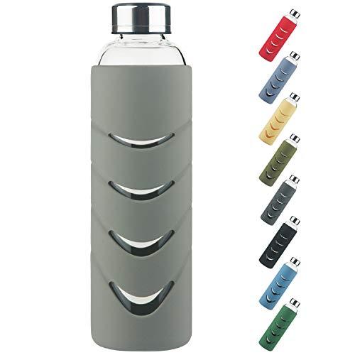 Borraccia in Vetro - Bottiglia d'Acqua in Vetro Borosilicato senza BPA da 500 ml / 1 l con Tappo a Prova di Perdite e Custodia Protettiva in Silicone, Perfetta per Ufficio, Fitness, Viaggi