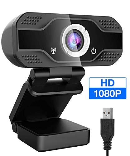 CCWELL Webcam 1080P mit Mikrofon, PC Laptop Desktop USB 2.0 Full HD Webkamera für Videoanrufe, Studieren, Konferenzen, Aufzeichnen, Spielen mit Drehbarem Clip