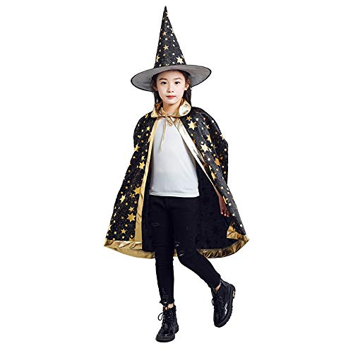 Capa de Halloween para Niños,Capa de Brujo Mago Disfraces de Halloween para Niños con Sombrero,para Niños Unisex Halloween Halloween Fiesta Vampiro Bruja Traje (Negro)