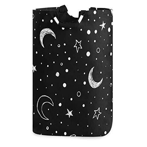 Lsjuee Doodle Nachthimmel Moon Stars Wäschekorb, wasserdichter und Faltbarer Wäschesack mit Griffen für Baby Nursery College Dorms Kinderzimmer Badezimmer