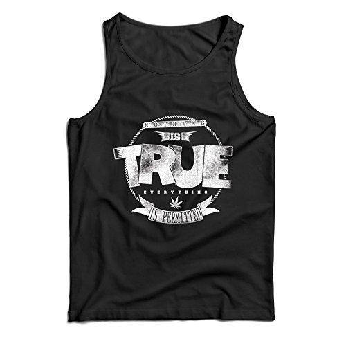 lepni.me Camisetas de Tirantes para Hombre Nada es Cierto, Todo está Permitido - Hipster Swag, Moda callejera, fumando Marihuana (X-Large Negro Multicolor)