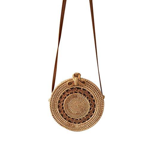 Bolso de playa hecho a mano de ratán tejido bolso de compras redondo de la playa bolsa de tejido retro bolso de almacenamiento en el hogar - patrón: giro hueco