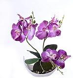 Orquídea artificial y maceta de orquídeas artificiales moradas, arreglos florales en jarrón,...