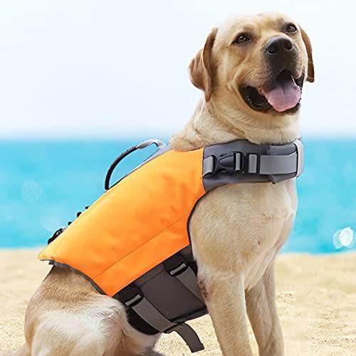 SPORS Chaleco Salvavidas para Perros Chaleco de Vida de la Flauta Mascota, Chaleco Reflectante Salvavidas Ajustable con asa para la Seguridad del Agua en la Playa, Piscina Orange-S