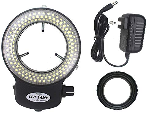LED-144-ZK Black Adjustable 144 LED Ring Light Illuminator for Stereo Microscope (Black)