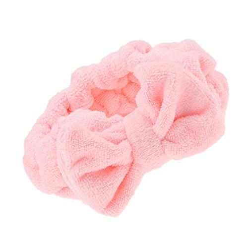 MagiDeal Mignon Nœud à Deux Boucles Bandeau Bande Elastique Serre Tete Cheveux Maquillage Douche Baignoire Spa - Rose