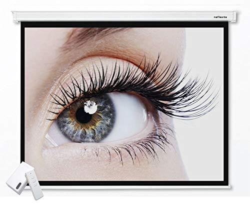 Reflecta CrystalLine Beamer Motorleinwand 180 x 144 cm (87691) - Format 4:3 - Gehäuselänge 207 cm - Full HD - 3D - 4K - HDTV - Vierkantgehäuse - Wand- und Deckenmontage - 1,0 Gain – Funkfernbedienung