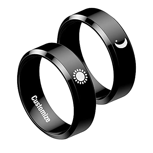 Sun and Moon Rings Matching Rings for Couples Personalized Rings Promise Couple Ring Customized Engagement Wedding Ring Band Sets for Him and Her Stainless Steel High Polished Comfort Fit