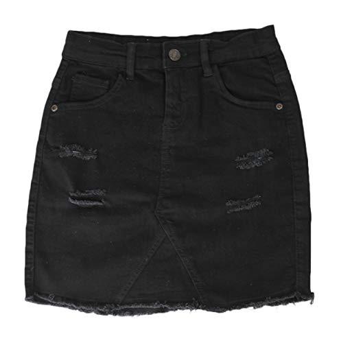 Ozmoint Falda de mezclilla elástica por encima de la rodilla con pliegues y 5 bolsillos (7-13 años) para niñas