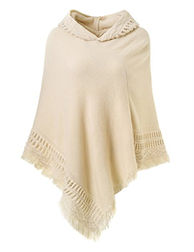 Ferand Ladies' Hooded Cape with Fringed Hem, Crochet Poncho Knitting Patterns for Women, Beige