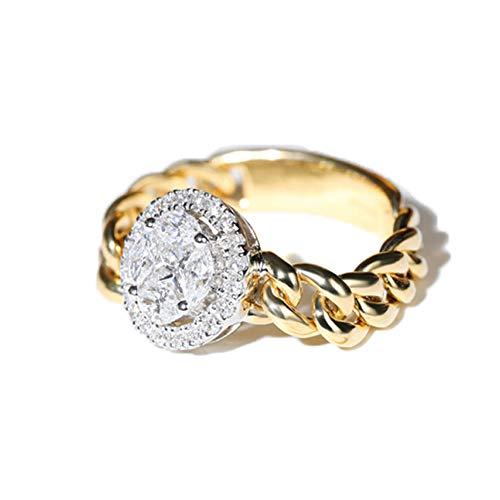 Anillo de Oro Amarillo de 18 Quilates y Oro Blanco. Anillo de eternidad de la Boda con Diamantes Redondos Naturales 100%