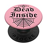 Dead Inside Pastel Goth Elegant Gothic Trendy Skull Web PopSockets PopGrip: Swappable Grip for Phones & Tablets
