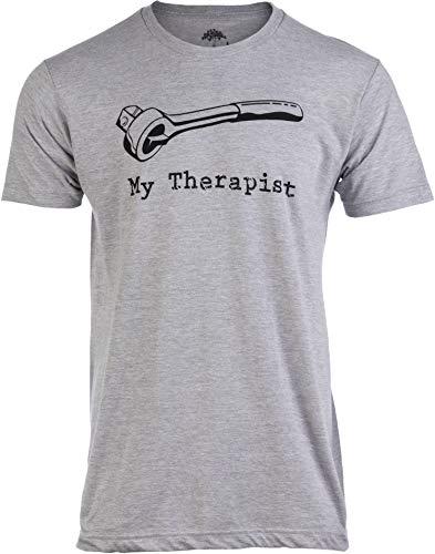 My Therapist (Socket Wrench) | Funny Car Auto Racing Mechanic Manual Man T-Shirt-(Adult,XL) Heather Grey