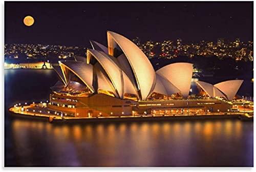 """PóSter Y Estampados Vista Nocturna de la Ópera de Sydney e Imagen para la decoración de la habitación Lienzo Pintura Pared Arte Cuadros 23.6""""x35.4""""(60x90cm) Sin Marco"""