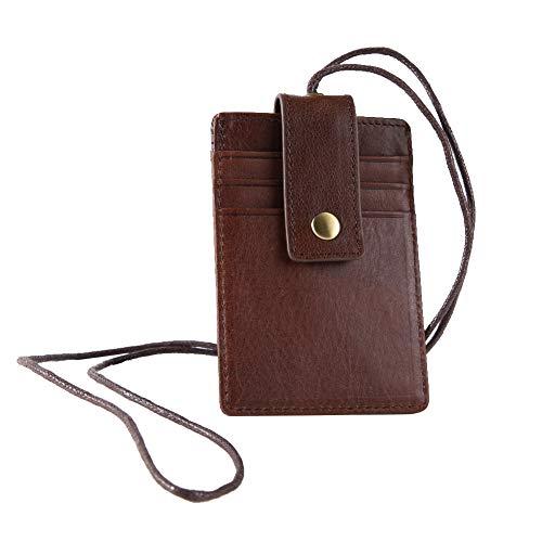 Porta badge, porta badge RFID Porta carte di credito porta badge con cinturino rimovibile per porta carte di credito, chiavi, portadocumenti orizzontale marrone(Marrone)