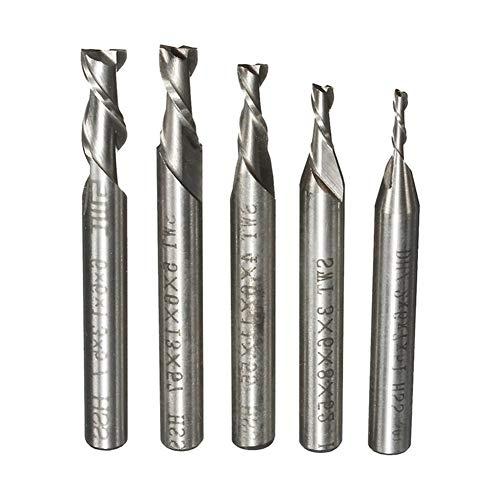 Wohren 5pcs / Set 2 Flute 2/3/4/5/6 mm 6 mm Schaftfräser HSS Schaftfräser CNC-Stich-Bit gerader Schaft Bohrer Werkzeuge Werkzeug