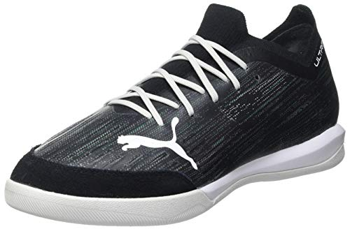 Puma Men's Ultra 1.2 PRO Court Futsal Shoe, Black-Glacier Gray-Elektro Green-Elektro Pool