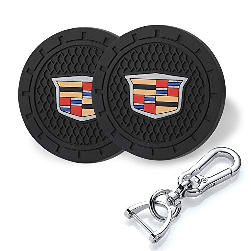 YANGYI 2.75 Inch Car Interior Accessories for Cadillac Cup Holder Insert Coaster - Silicone Anti Slip Cup Mat for Cadillac XT4 XT5 XT6 Escalade CT5 CTS XTS CT6 ATS (2 Pack