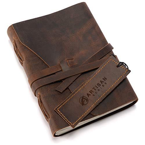 Cuaderno de cuero hecho a mano, artesanal, único prensado a mano, papel de...