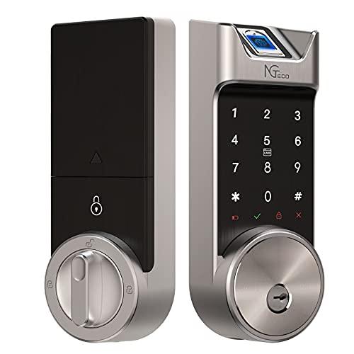 Fingerprint Deadbolt Door Lock, NGTeco Electronic Touchscreen Smart Lock, Biometric Smart Door Lock for Front Door, Bluetooth Keyless Entry Door Lock with Card, App Control, Auto Lock, Zinc Alloy