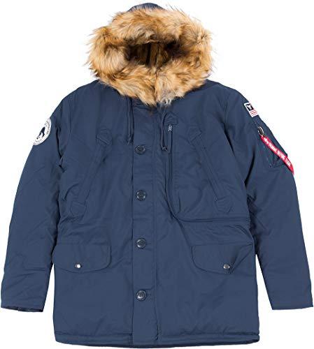 ALPHA INDUSTRIES Herren Polar Jacket Mantel, Azul, L