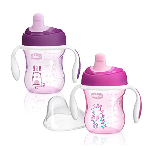 Chicco Semi-Soft First Spout Trainer Sippy Cup 7oz 6m+ (2pk) - Pink/Purple