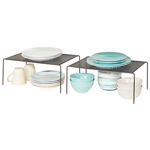 mDesign Set da 2 Mensole porta piatti per la cucina – Ripiano antiscivolo in metallo – Grande scolapiatti da appoggio per tazzine e utensili – bronzo