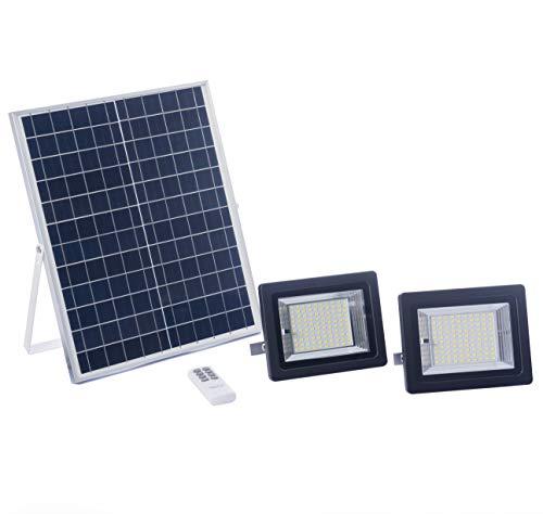 Foco Solar LED 100W, Luz Cálida 2700K, Iluminación Exterior con Panel Solar, Batería, Mando a Distancia, Autonomía 8-15 Horas (Luz Cálida 2700K, 2 Focos, 100W)