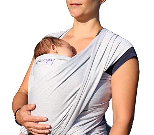 myla elastisches Tragetuch - Babytragetuch für Früh- und Neugeborene inkl. deutscher Bindeanleitung einfach zu binden weich & anschmiegsam bis 12kg Grau (hellgrau)