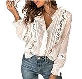 WangsCanis - Camisa de verano para mujer, de encaje, de manga larga, con volantes, cuello en V, color liso, blanco, XL