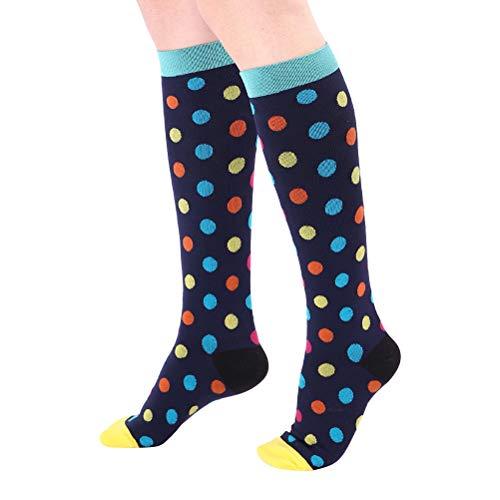 SOIMISS meias elásticas de compressão mágica unissex para mulheres meias de compressão meias de futebol ao ar livre meias esportivas para tamanho S/M (ponto grande)
