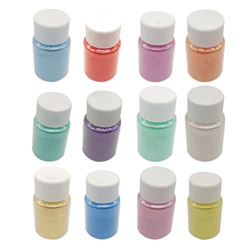 HEALLILY polvo de limo polvo de mica diy tinte de resina epoxi pigmentos en polvo natural para pigmentos adhesivos tintes para bombas de baño fabricación de jabón y arte de uñas brillante 12 piezas