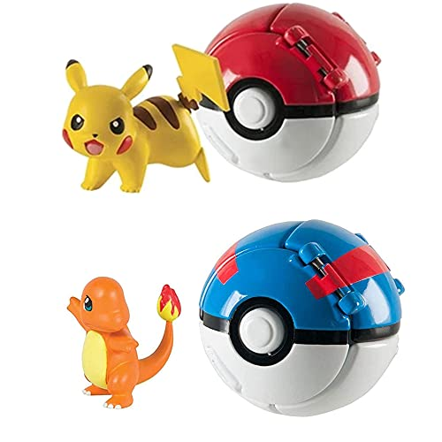 HIGBRE 2pcs Throw Poké and N Pop Ball Action Dolls, Mini PokBalls Action Figures - Pet Pocket Monster Action Figure Toy for Kids Ages 3 and Up…