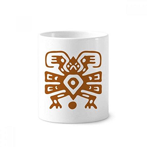 DIYthinker Mexiko Totems mexikanische Antike Kultur Keramik Zahnbürste Stifthalter Tasse Weiß Cup 350ml Geschenk 9.6cm x 8.2cm hoch Durchmesser