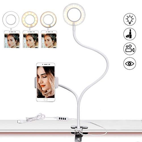 JCJ-Shop Anillo De Luz LED, con Soporte para Teléfono Celular Y Bluetooth para Transmisión En Vivo/Clip De Maquillaje En Brazos Flexibles Lámpara De Escritorio con Clip USB, Negro/Blanco