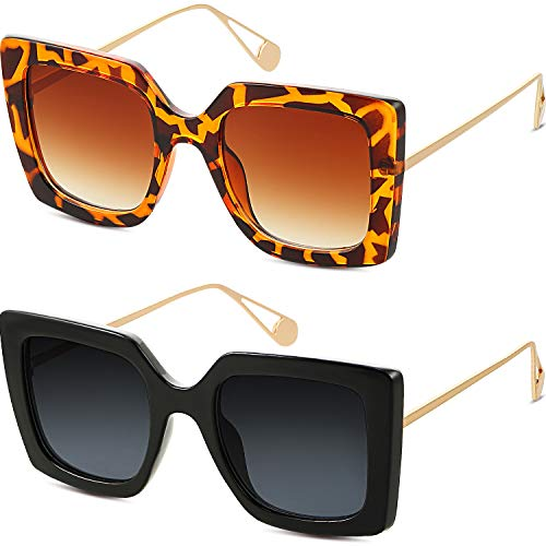 Frienda 2 Pares Gafas de Sol Cuadradas de Gran Tamaño Gafas de Montura Cuadrada de Moda de Mujer