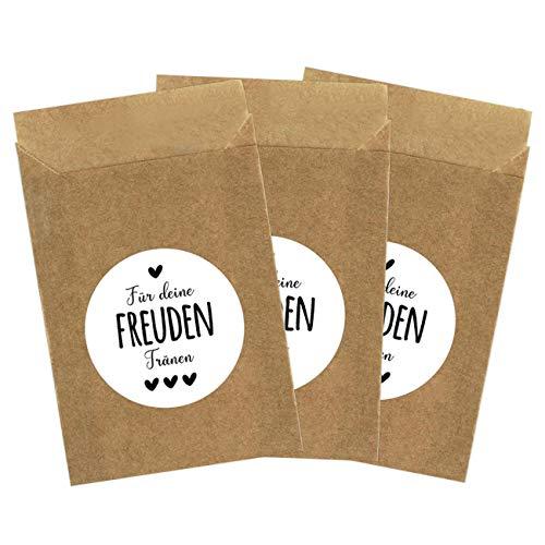 100 braune Papiertüten & 100 Freudentränen Aufkleber für die Hochzeit | Verpackung für Freudentränen Taschentücher | Vintage Deko (Papiertüten & Sticker) - Set 3