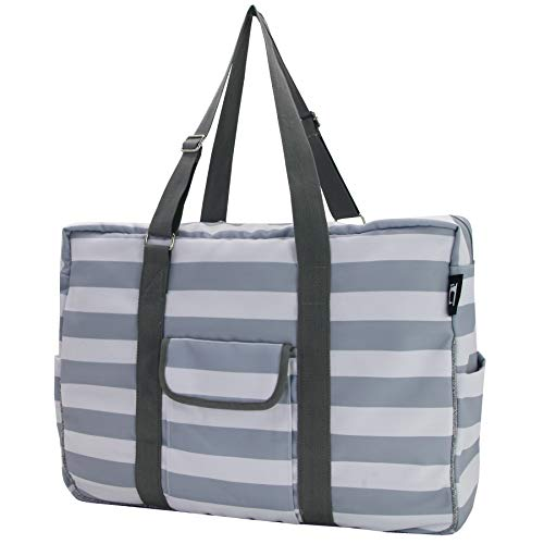 Hibala Canvas Waterproof Lining Beach Bag,Gym/Travel/Pool Bag,Tote For Women&Men,with Adjustable Handle (Grey Stripe)