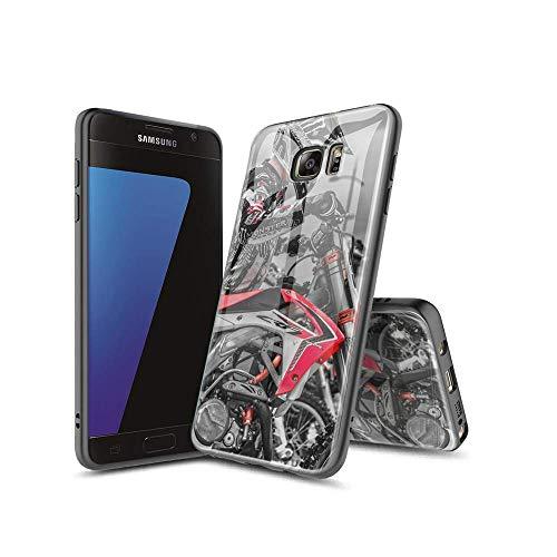 XaNChVlI Compatible con Samsung Galaxy S7 Funda Carcasa con Dibujos patrón Diseño [Bordes en Suave TPU Silicona] Híbrida Tempered Vidrio para Samsung Galaxy S7#A010