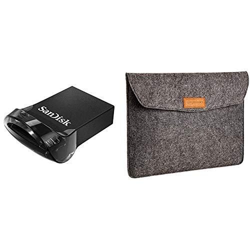 SanDisk Ultra Fit 128 GB Flashlaufwerk USB 3.1 bis zu 130MB/Sek. Lesen & Amazon Basics Laptop-Tasche, Filz, für Displaygrößen bis 13 Zoll, Grau