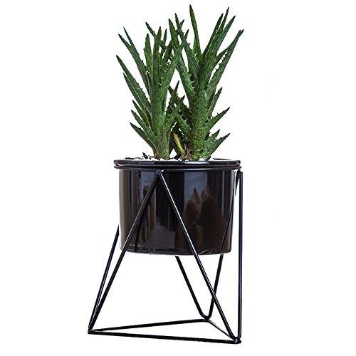 Pot de fleurs pour l'intérieur Y&M(TM) -11,6cm - Moderne -Pot rond en céramique blanche avec support en métal -Pour les plantes succulentes, les plantes grimpantes, les cactus Black+Black