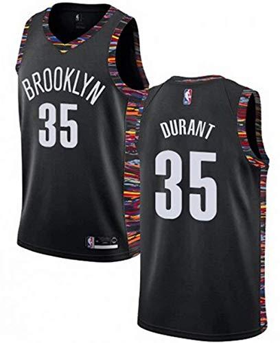NBA Hombre Jersey,Brooklyn n#35 Durant Ropa de Baloncesto,Camisetas Al Aire Libre Casual Mujer Redondo CháNdales,Black,S