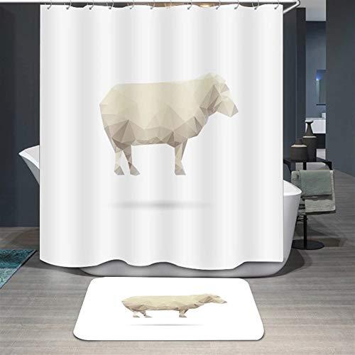 SK Studio Duschvorhang Wasserdicht Waschbar Polyester Stoff Bad Vorhang mit 12 Haken Multi 12 Schaf 180x200cm
