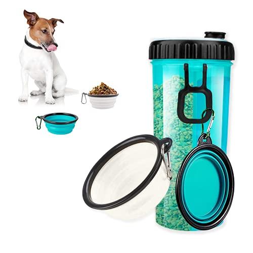 Plartree Hund Trinkflasche mit 2 Faltschüsseln Haustier, 350 ml Wasser und 250 Futter 2 in 1 Tragbare Haustier Reisewasserflasche, Leichter Wasserspender für Unterwegs, Camping, Spaziergang