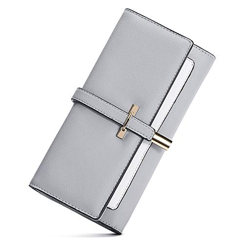 CLUCI Portmonee Damen Gross Weich Leder Portemonnaie Frauen Lang Elegant Geldbeutel mit Vielen Kartenfächern Grau
