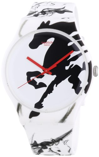 Swatch Unisex-Armbanduhr Chinese New Year 2014 Year of The Horse Analog Quarz Silikon SUOZ169