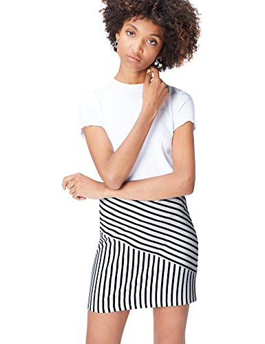 find. Falda Mini de Rayas para Mujer , Negro (Black/white Striped), 40 (Talla del Fabricante: Medium)