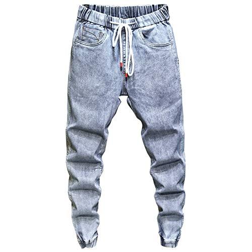 Pantalones Vaqueros para Hombre, Moda de Verano, Pantalones Vaqueros Holgados Rectos, Pantalones Vaqueros Holgados con Cintura elástica, Pantalones Vaqueros Casuales Deportivos 33W